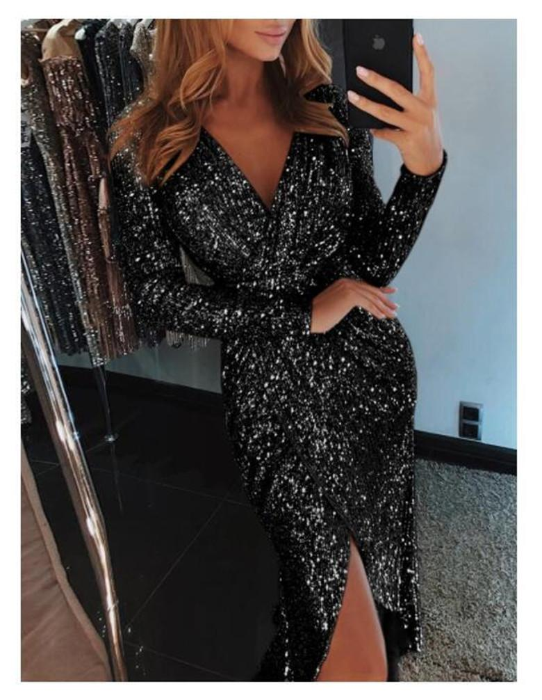 afd59a27b518 2019 Women Sexy Deep V Neck Sequin Long Sleeve Side Slit Evening Party Mini  Dress Women Fashion Club Bodycon Dress From Fashion5dstore, $26.13 |  DHgate.Com