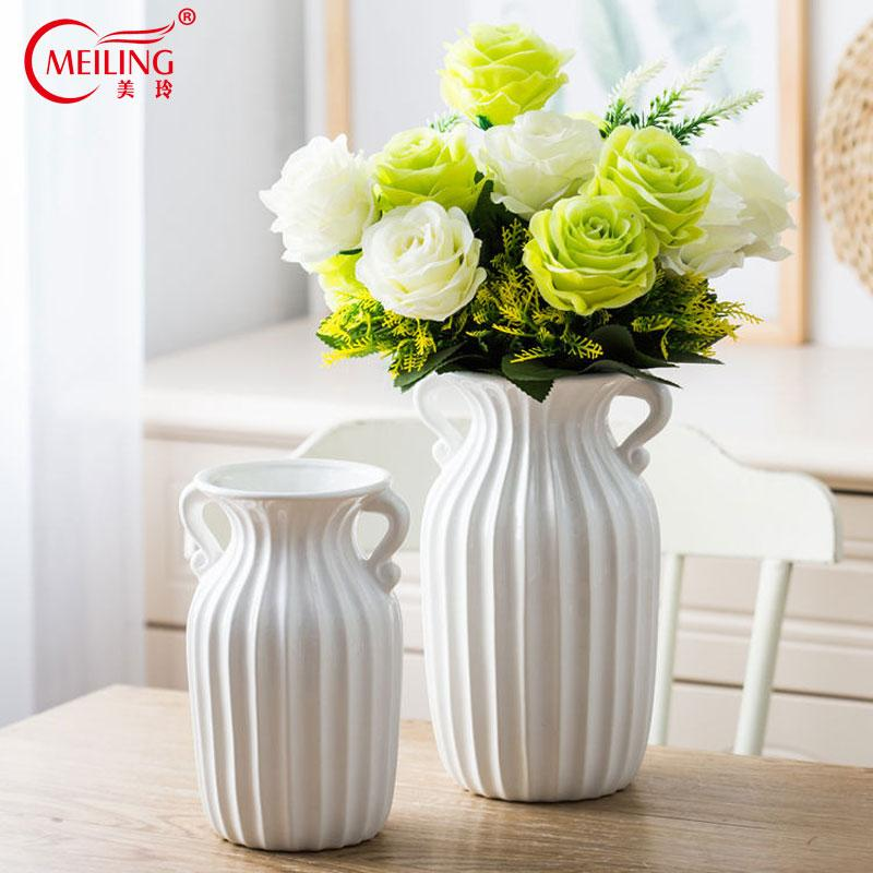 Modern Double Ear Vertical Stripes White Decorative Vases For Flowers  Ceramic Home Room Tabletop Decoration Accessories Filler Vases Of Flowers  Vases On ...