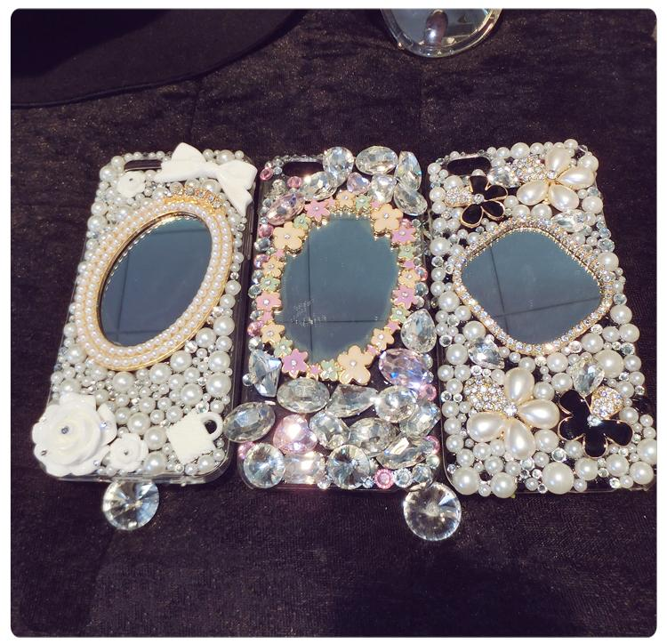 Mirror Phone Case Cover For Samsung Galaxy C10 C9 C8 C7 C5 Pro Rhinestone Diamond Pearl Flower Phone Protective Shell Skins