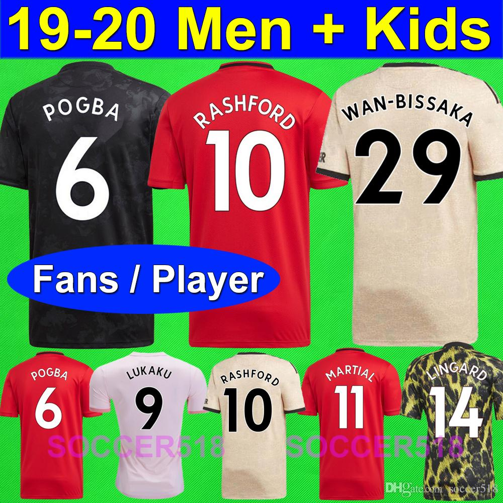 S - 4XL 2019 2020 Manchester RASHFORD Man Lukaku LINGARD United POGBA UTD player version soccer Jerseys 19 20 kids women kit football shirts