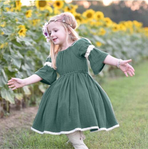 28e2cf84344b 2019 INS Styles Girl Clothing Dress Kids Summer Short Sleeve With Ruffles  Green With White Lace Design Dress Girl Casual Elegant Dress B11 From  Start_baby, ...
