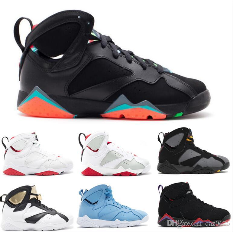 bb70ee2a87e945 2019 Classic 7s Men Women Basketball Shoes Pure Money Hare Bunny Raptor  French Blue Bordeaux Hot Lava Verde Black Red White Blue Sneakers From  Qaz0626