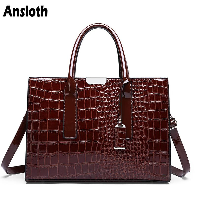 Ansloth Luxury Women's Bag Fashion Top-handle Bags Crocodile Pattern Patent Leather Handbags Classic Women Shoulder Bag Hps361MX190824