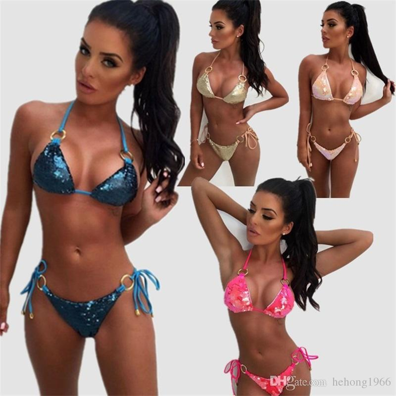 Split Body Swimsuit Sequins Metal Ring Multicolor Low Waist Women Bikini Set Party Swimsuit Swimming Wading Home Clothing New Arrival29zyE1