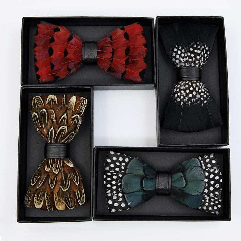 High-quality Fashion Clothing Accessories Handmade Unique Design Animal Feather Bow Ties Peacock Feather Bowties Decorative Ties