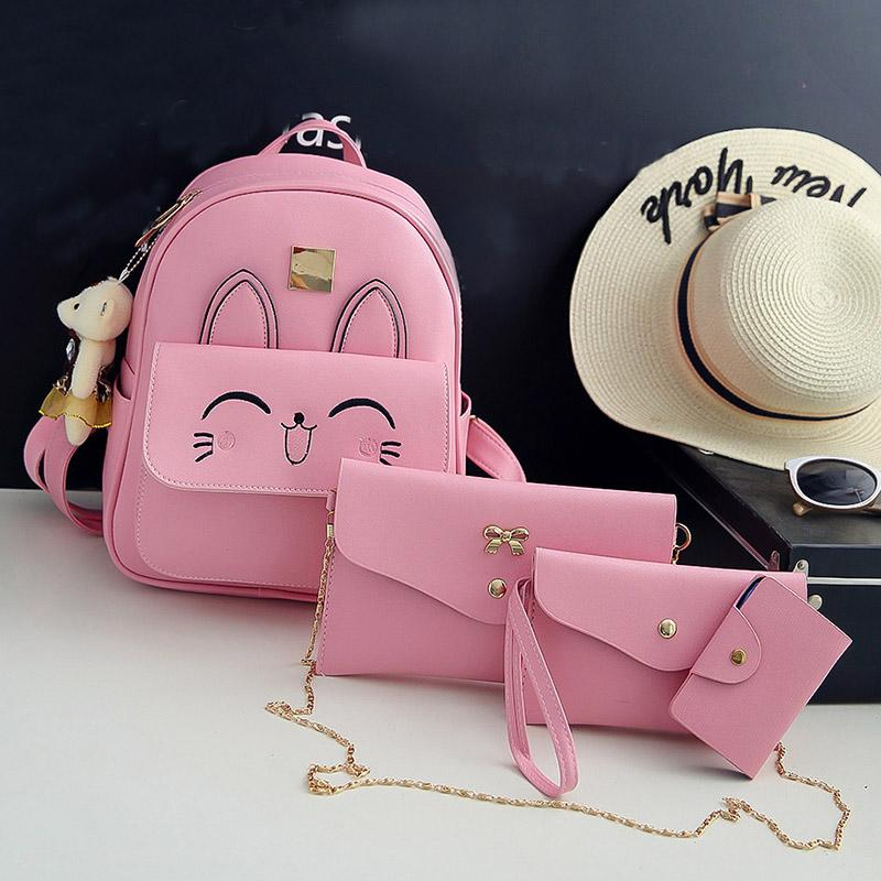 ddfc117de3 2019 Girls Cute Cat Printing Backpack Pink Grey PU Leather Mini ...