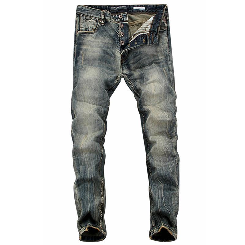 a32da1120b Compre Europeu Americano Retro Moda Calças De Brim Dos Homens De Alta  Qualidade Processo Lavagem Do Vintage De Cor Escura Skinny Jeans Homens  Lazer Calças ...