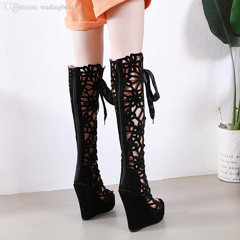 Plus size 32 33 to 40 41 42 black rhinestone hollow out open toe over the knee boots fashion luxury designer women shoes