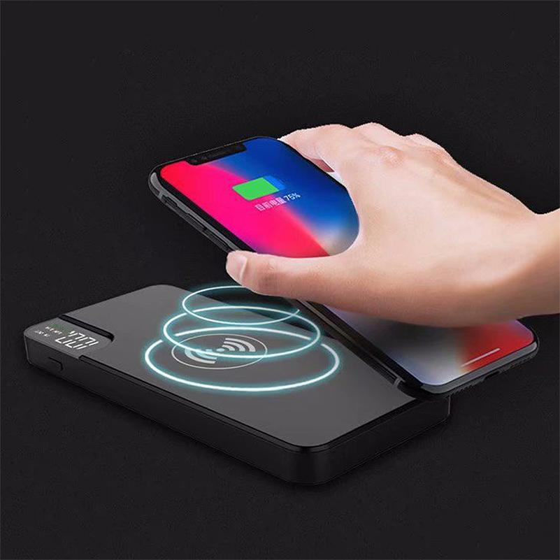 10000mAh Portable Power Bank External Phone Battery Qi Wireless Charger Poverbank Digital Display Powerbank For iPhone Xiaomi Android Phone