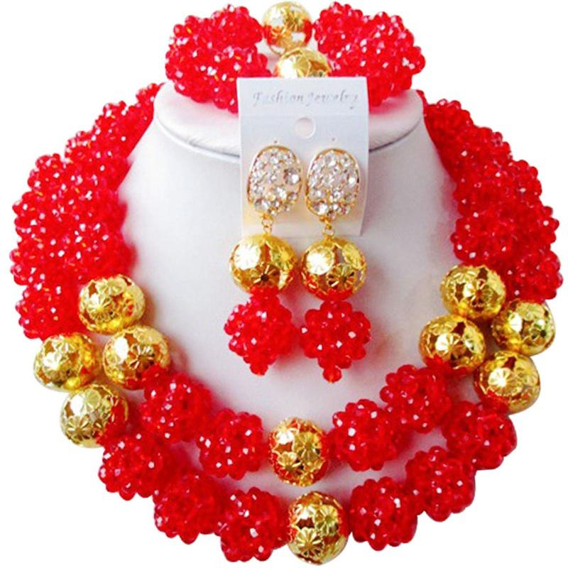 8222e95d54df Compre Conjuntos De Joyería De Collar Hecho A Mano De Las Mujeres De Cristal  De La Boda Nigeriano Rojo De La Vendimia 2C SJJS 15 A  77.82 Del ...