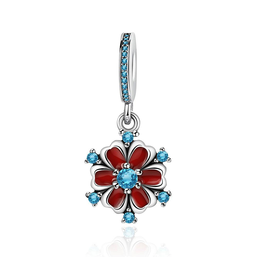 2019 NEW 100% 925 Sterling Silver Brand New Flashing Temperament Sapphire Dahlia Pendant Charm Original Charming Women Jewelry