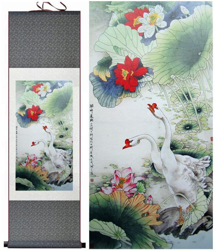 Lotus Flower And Goose Traditional Chinese Art Painting Chinese Ink Painting Flower Pictureprinted Painting2019061538