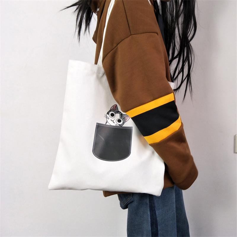Cute Cat Dog Patterns Canvas Tote Bag For Women Cloth Cartoon Shoulder Bag Shopping Bags Female Party Handbag White / Black