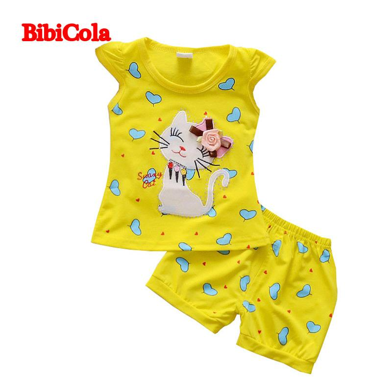 1c48dcaae7c 2019 Good Quality Baby Girls Cute Love Cat Print Clothing Sets Children  Summer Cartoon Top T Shirt+Rompers Children Summer Outfits From Nextbest06