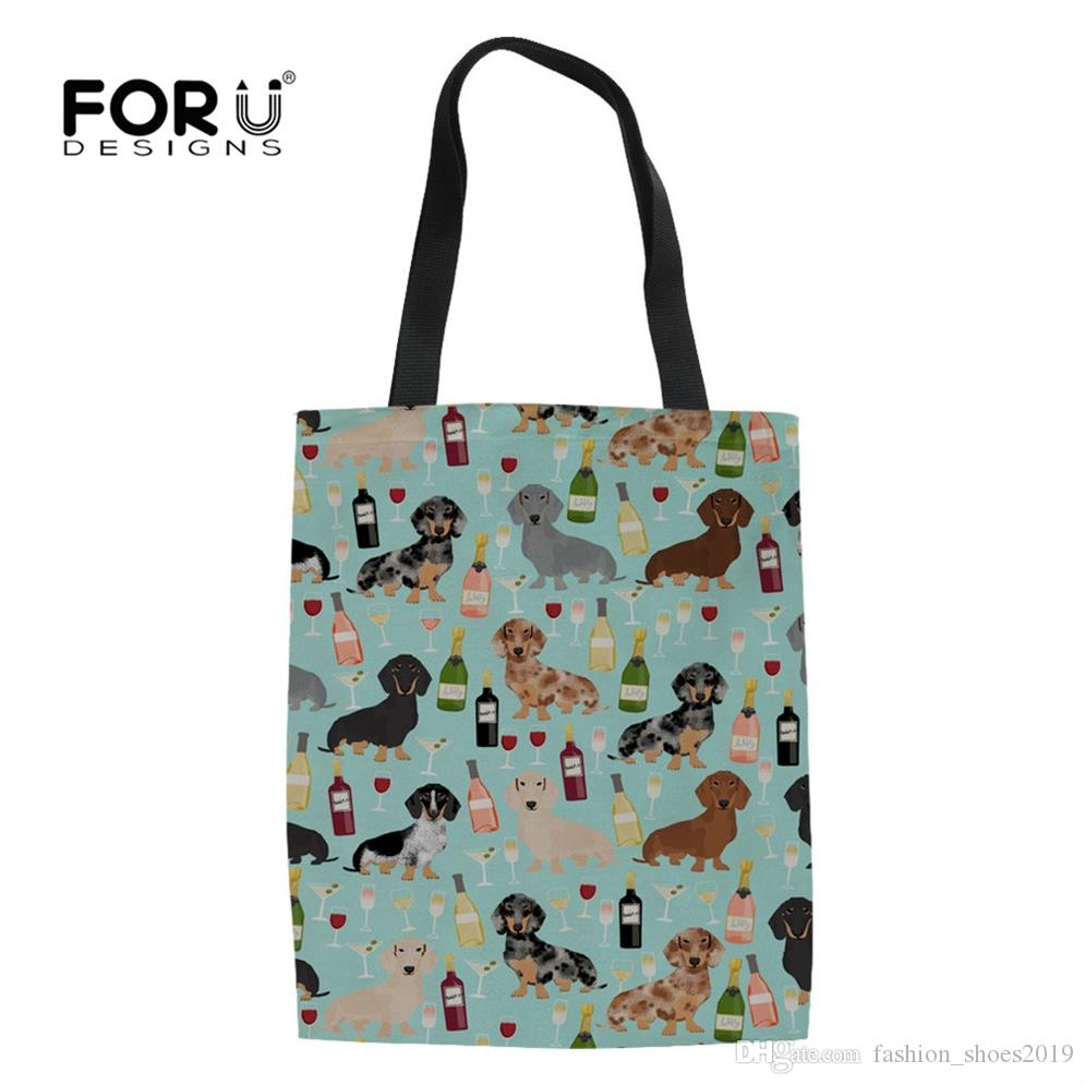 ffc78f3818 FORUDESIGNS Dachshund Doxie Dog Print 2018 Eco Reusable Grocery Bags  Shopping Bag Women Shopper Handbags School Girls Totes Bag  110939 Totes  Bags Discount ...