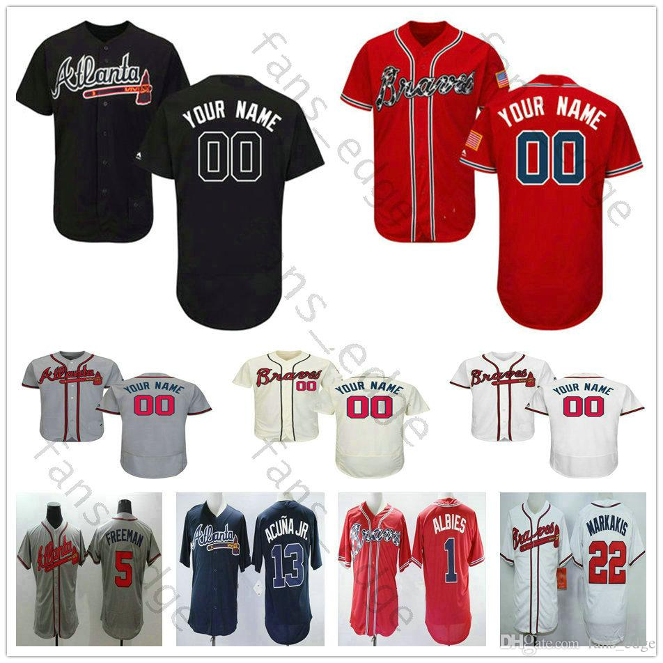 2019 Custom Atlanta Braves  22 Nick Markakis 1 Ozzie Albies 13 Ronald Acuna  Jr Men Women Kids Youth Baseball Jerseys From Fans edge 981f2f811