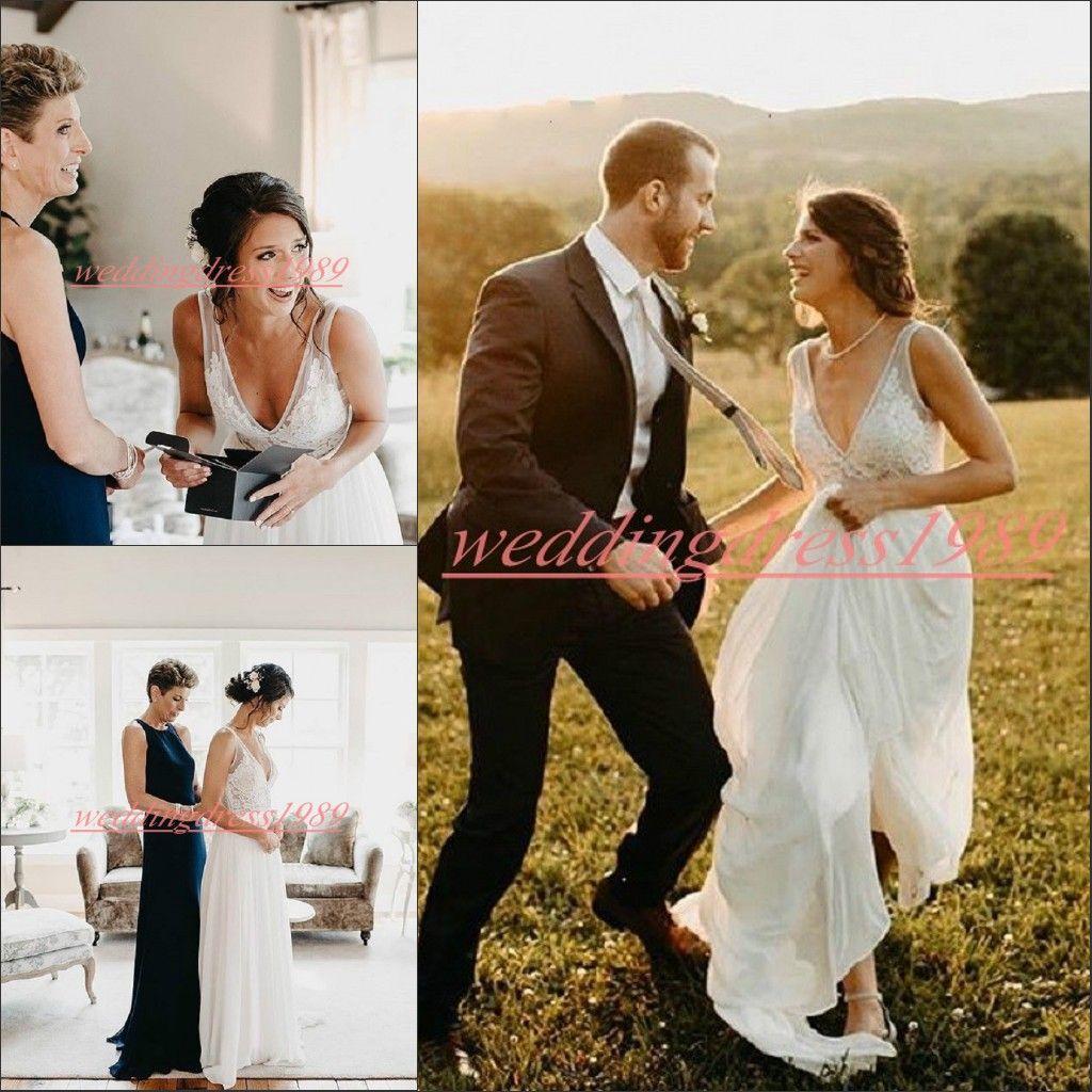 Elegant Spring V-Neck Plus Size Wedding Dresses Country Style Chiffon Lace  Sheer Applique Cheap vestido de noiva Bridal Gown Ball Bride