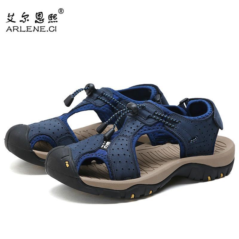 97ed87f28ea7 2019 New Summer Sandals For Men Leather Casual Slippers Non Slip Hiking  Sandals Men Flip Flops Large Size 38 46 Sandalias Hombre Bridesmaid Shoes  Pumps ...