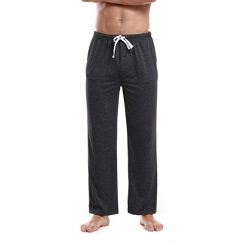 Laamei Men's pyjama Trousers Drawstring Loose Adjustable Male Home Pants Sleepwear Trouser Men Solid Color nightwear Pants