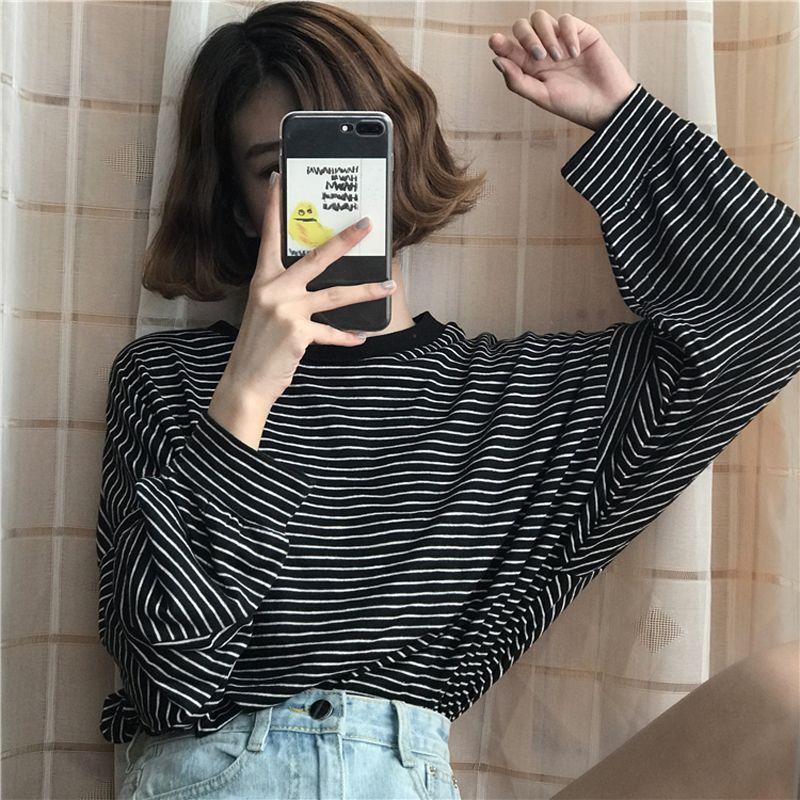 ba766dbd Yougeman T Shirt Femme 2019 Spring Autumn Korean Style Ulzzang Harajuku  Retro Long Sleeve O Neck Striped T Shirt For Women Tops Q190328 Slogan T  Shirts ...