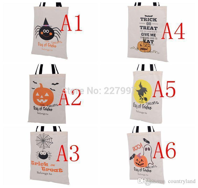 200pcs 6 Types Halloween Tote Bags with Black Handle Pumpkin Christmas Shopping Bags Festival Gifts Bag Halloween Canvas Bag 20180920#