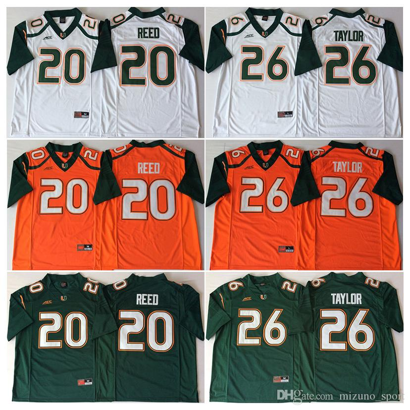 finest selection c80cc dc457 NCAA Mens 2018 Miami Hurricanes Green Orange White #20 Ed REED #26 Sean  TAYLOR College Football Jerseys good quality free shipping