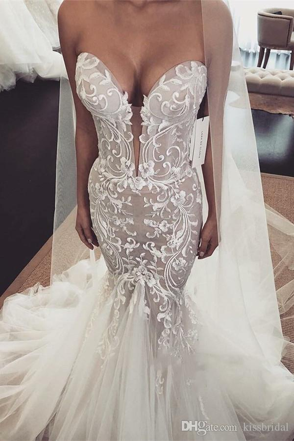 e5780ffd43231 Vintage Lace Wedding Dresses 2019 Sexy Mermaid Strapless Sleeveless  Applique Tulle Wedding Dress Bridal Gowns Plunging Bride Formal Gown Bridal  Designers ...
