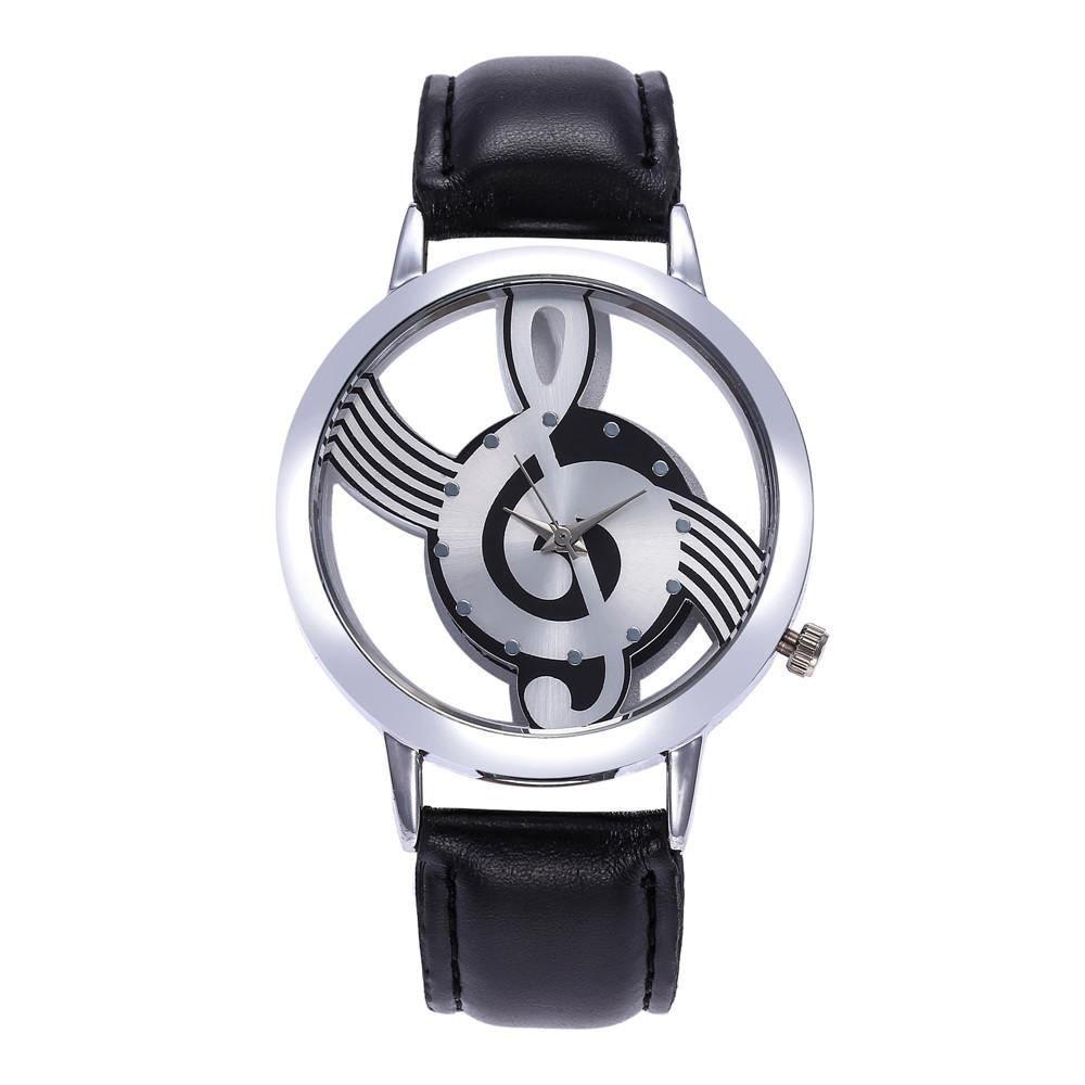 Montre femme 2019 Women Leather Band Stainless Steel Musical symbol Clock Watch Hot Selling Simple Casual Ladies Dress Watches