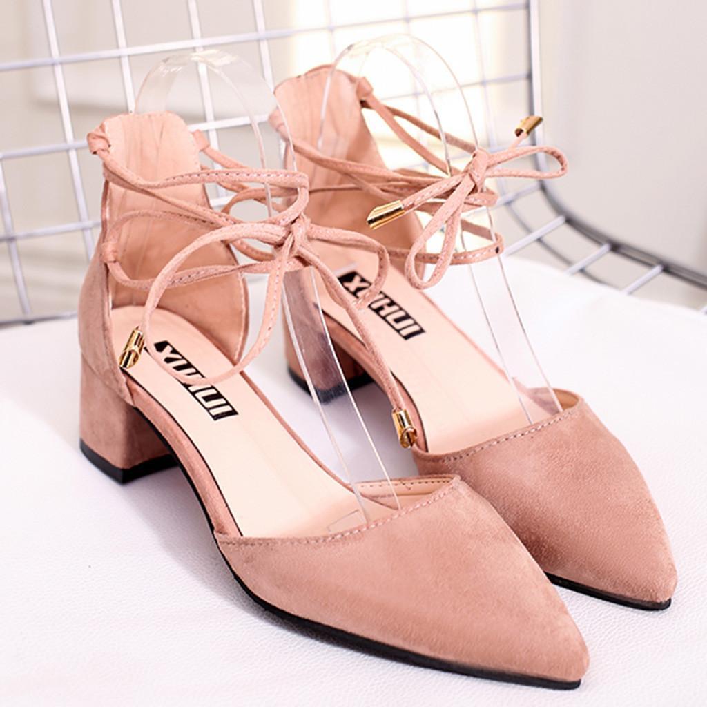 d12647542ee Compre 2019 Moda Mujer Primavera Verano Sandalias Para Mujer Zapatos De  Moda Punta Estrecha Talón Cuadrado Holgazanes Casuales Sandalia Sapato  Feminino A ...