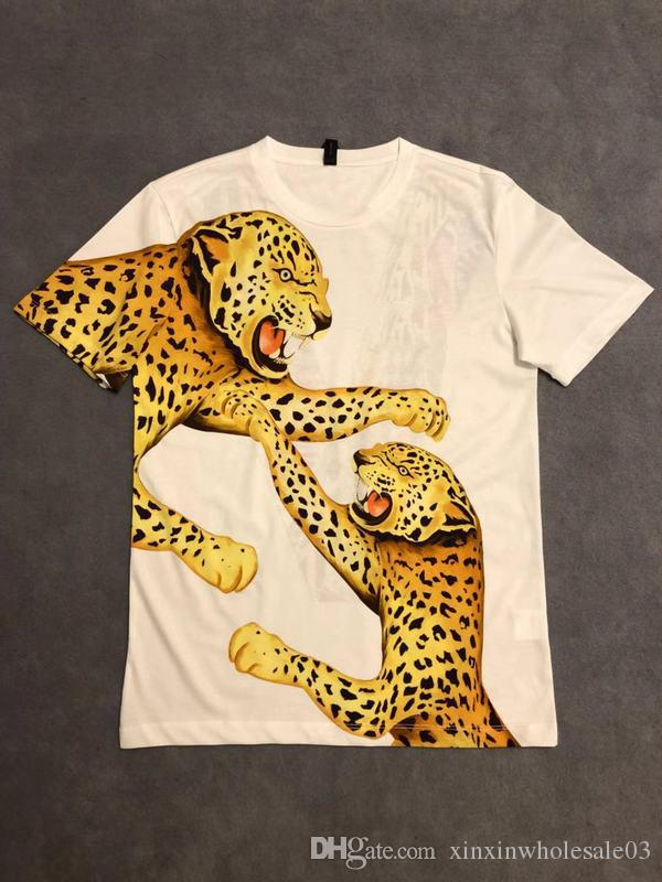 mens designer t shirts Luxury fashion Paris leopard back V letter print women clothes boy clothes Crew Neck Model top quality 19ss