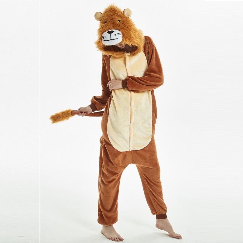 5b19ddc0d4b9 2019 Soft Plush Brown Lion For Adults Halloween Pajamas Onesie Long Sleeve  Cosplay Sleepwear Bodysuit Lion Mascot Costume Kigurumi From Home5