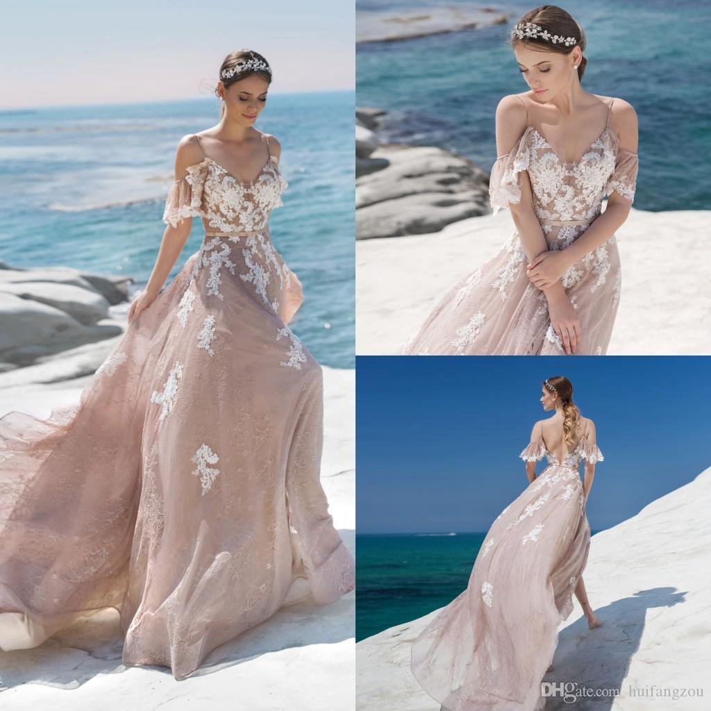 c9b7acebc05 2019 Spaghetti Straps Beach Wedding Dresses Off Shoulder Lace Appliques  Backless Lussano Bridal Gowns Plus Size Wedding Dress Robe De Mariée  Wedding Dresses ...