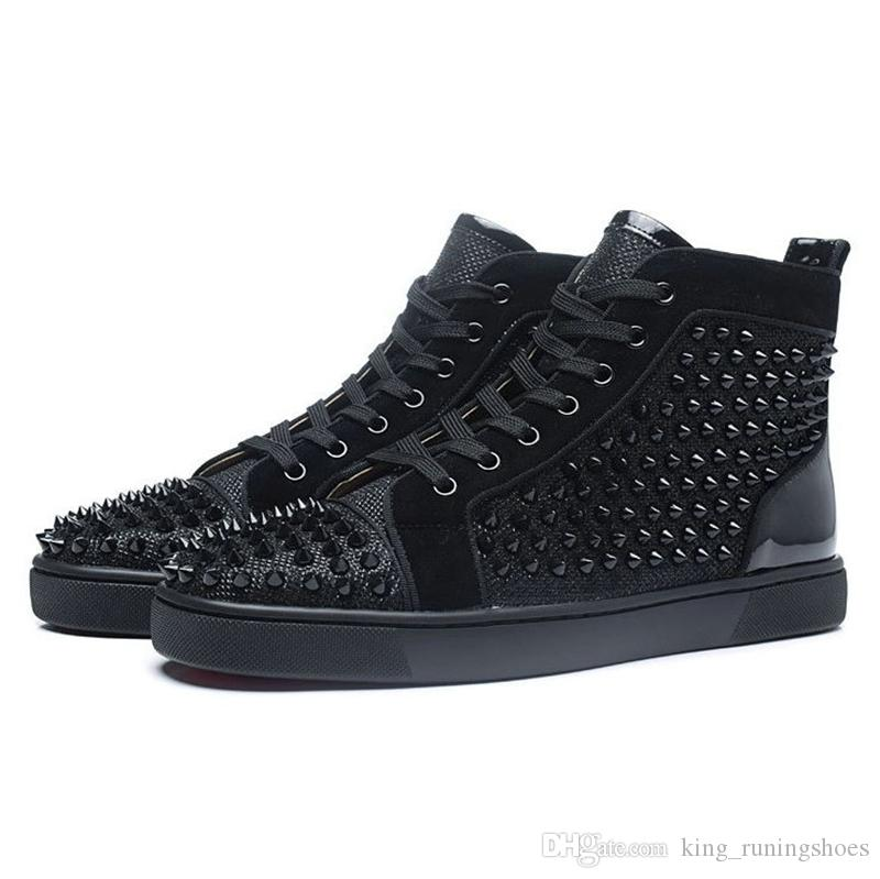 High Top Studded Spikes Orlato Flat Casual Red Bottom mens luxury designer sneakers shoes New For Women Party Lovers