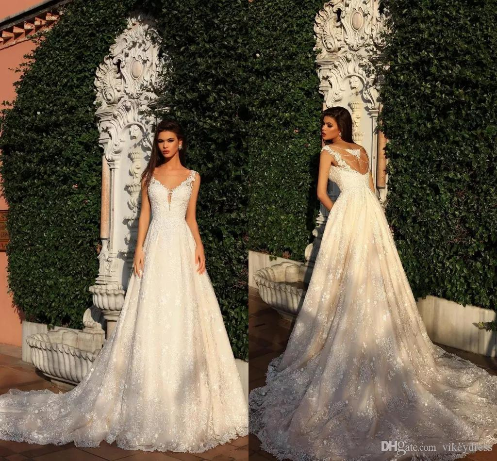 2b4302736d5db Discount Custom Champagne Full Lace Wedding Dresses 2019 With Beaded  Appliques Sheer Neck Court Train A Line Wedding Bridal Gowns Latest Gowns  Online ...