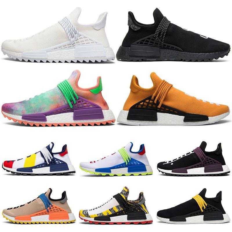 super popular 19b91 6839b Acheter Adidas 2018 Nmd Human Race Hu Trail Chaussures De Course Hommes  Femmes Pharrell Williams Noyau D encre Noble Jaune Black Red Runner  Sneakers ...