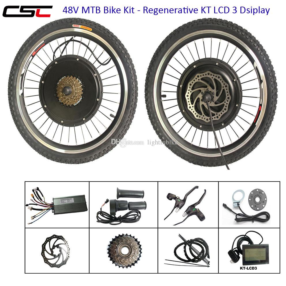 CSC E-bike Kits Electric Bike Bicycle Conversion Kit 48V 1500W Front Rear  Hub Motor Engine Kit Regenerative LCD display wi optional battery