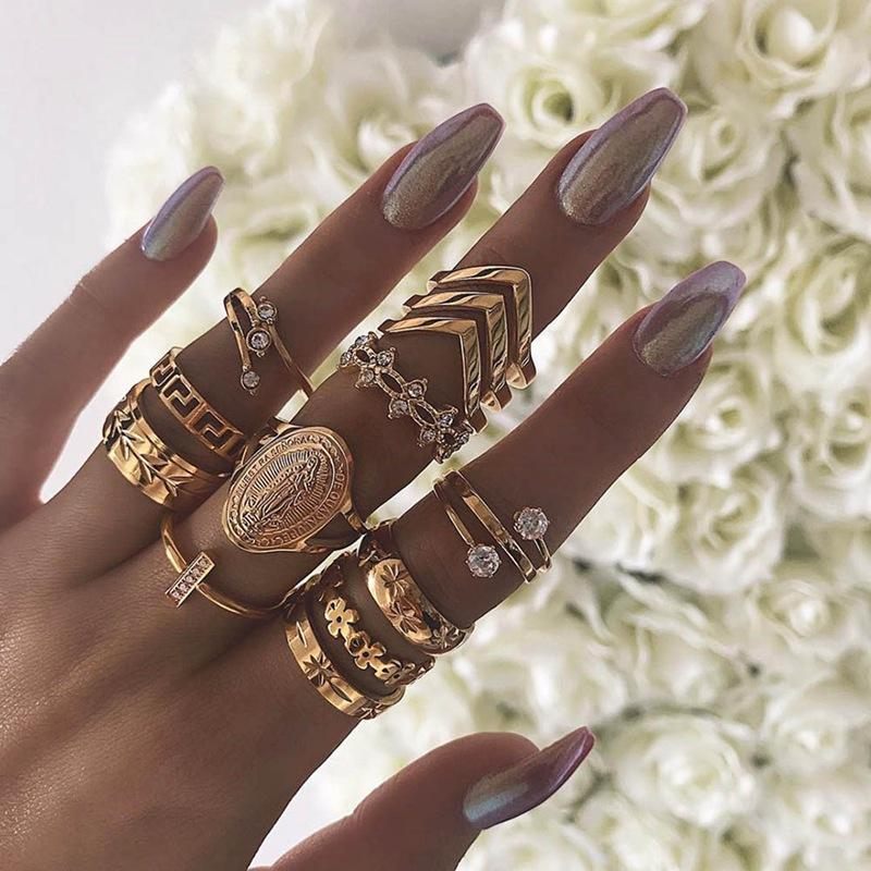 13pcs/set Cross Fatima Hand Punk Ring Sets For Women Gold Color Geometric Hollow Pattern Flower Female Jewelry
