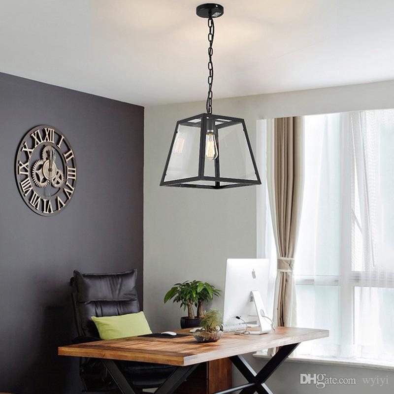 Großhandel Glas Kronleuchter Vintage Lampe Decke Led-leuchten Für  Wohnkultur Wohnzimmer Beleuchtung Weiß Schwarz Schmiedeeisen Leuchten E27
