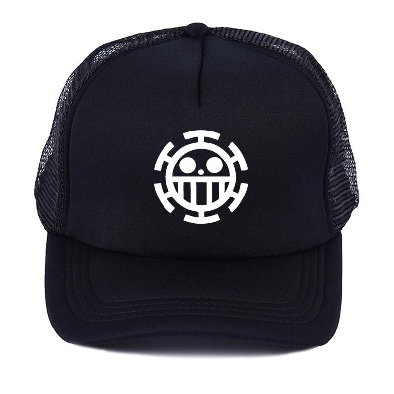 Anime One Piece Trafalgar Law Sign Skull Head Women Men Baseball Caps Sun  Hat Summer Net Hat Truck Driver Cosplay Hats Flexfit Hats For Men From ... a95109f37b33