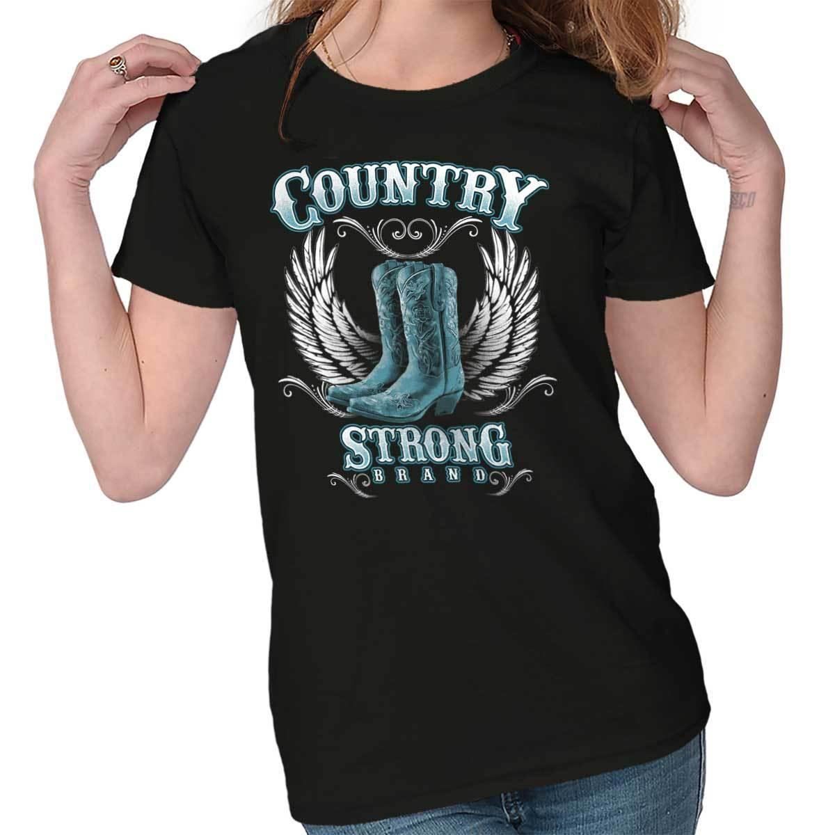 a3977539a2f9e9 Country Strong Gift For Women Rodeo Western Cowgirl Cool Boot Womens T Shirt  Funny Unisex Casual Political Tee Shirts Funny Political T Shirts From ...