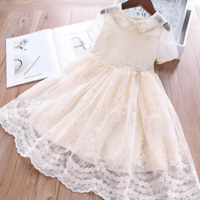 d6483b34fa Girls summer dresses lace gauze floral embroidery Kids dress children lapel  short sleeve princess dress new girl clothes Y1881
