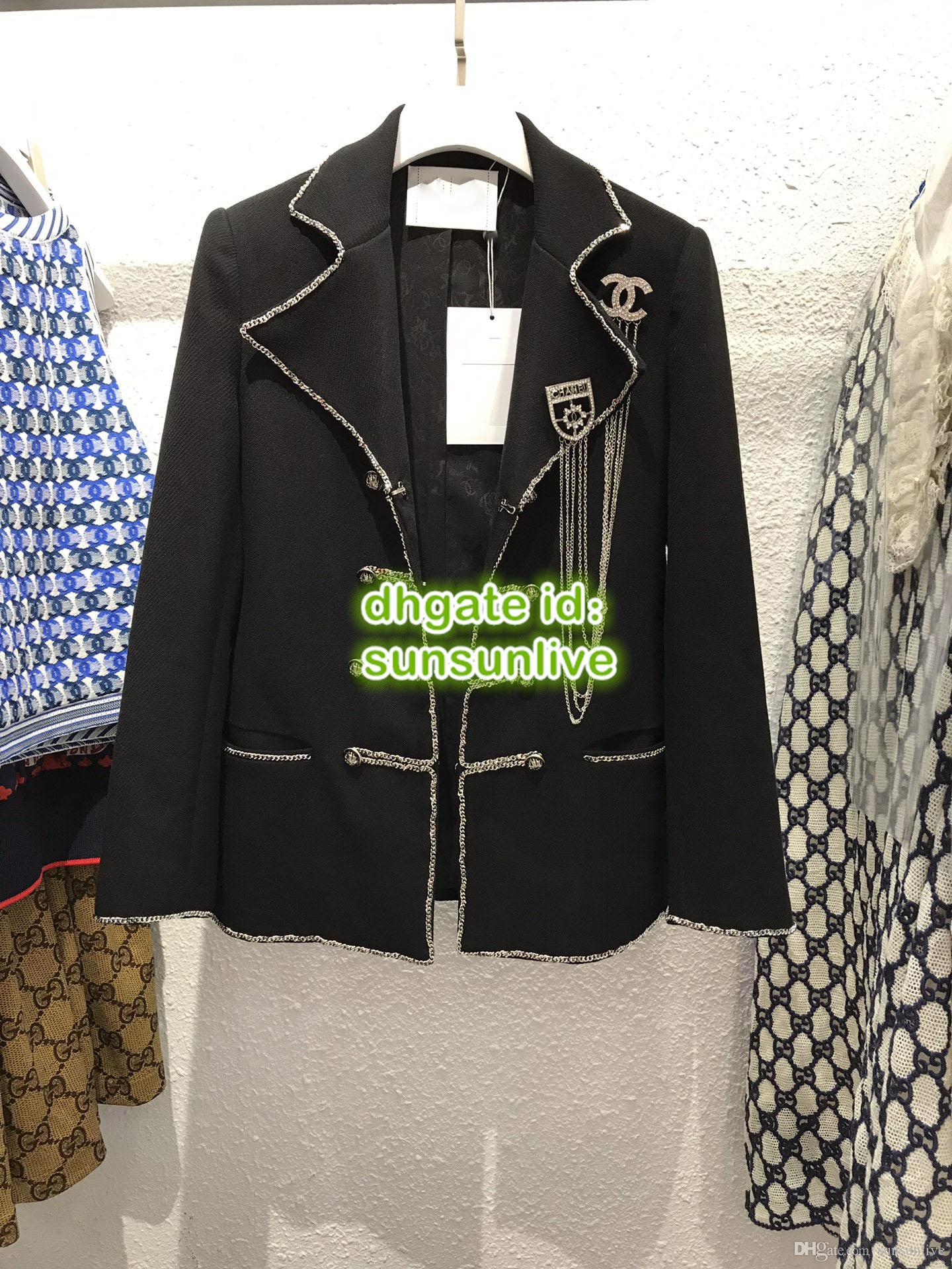 2019 Frauen Tweed Blazer Tops Mit Strass Kette Brosche Seide Innen Mantel Mädchen Die Top Qualität Tweed Langarm Mantel Runway Weibliche Anzüge