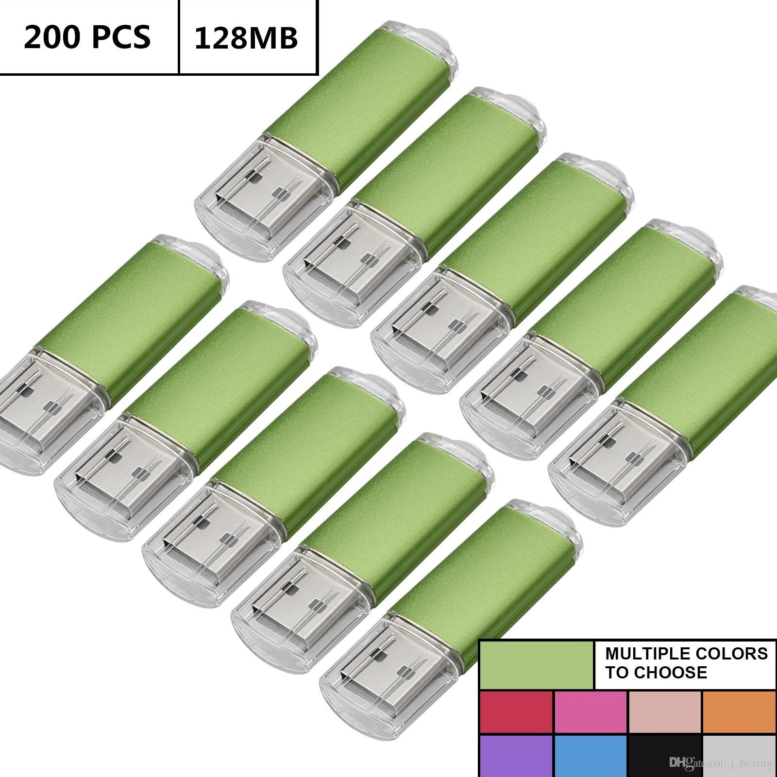 Green Bulk 200PCS 128MB USB 2.0 Flash Drive Rectangle Thumb Pen Drives Flash Memory Stick Storage for Computer Laptop Tablet Macbook U Disk