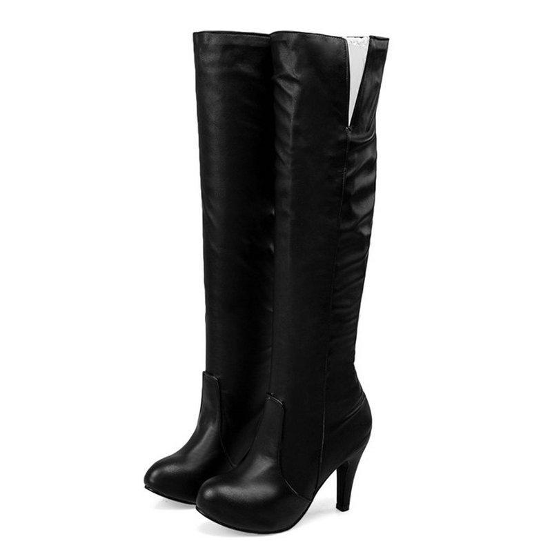 6fc7700fa Compre Tamaño 34 43 Mujer Plisada PU Cuero Rodilla Botas Altas Zapatos Sin  Cordones Mujer Costura Sexy Vestido Bota Señoras Zapatos De Tacón Alto A   41.65 ...