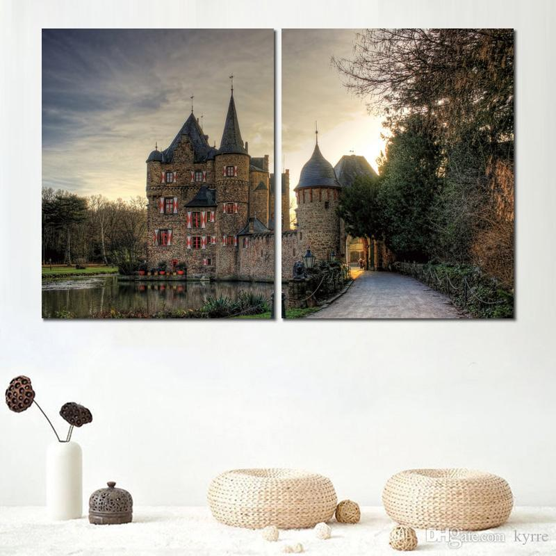 castle lake tower trees 2 sets canvas print home decoration art painting no frame