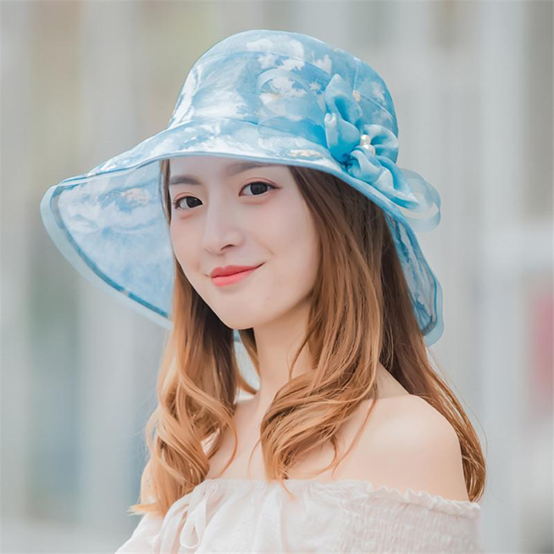 2019 New Women Summer Hat Folding Casual Travel Visor Beach Hats UV Elegant Flower Sun Hat chapeau femme mariage