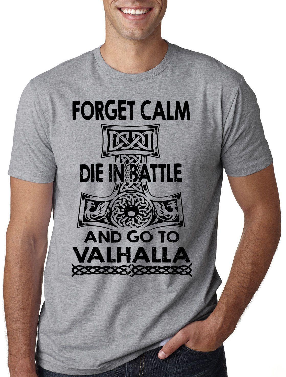 0058c54eab Viking T-Shirt Valhalla Funny Vikings Tee Shirt T-Shirt For Men Premium  Custom Short Sleeve Boyfriend's Plus Size Group Tshirts