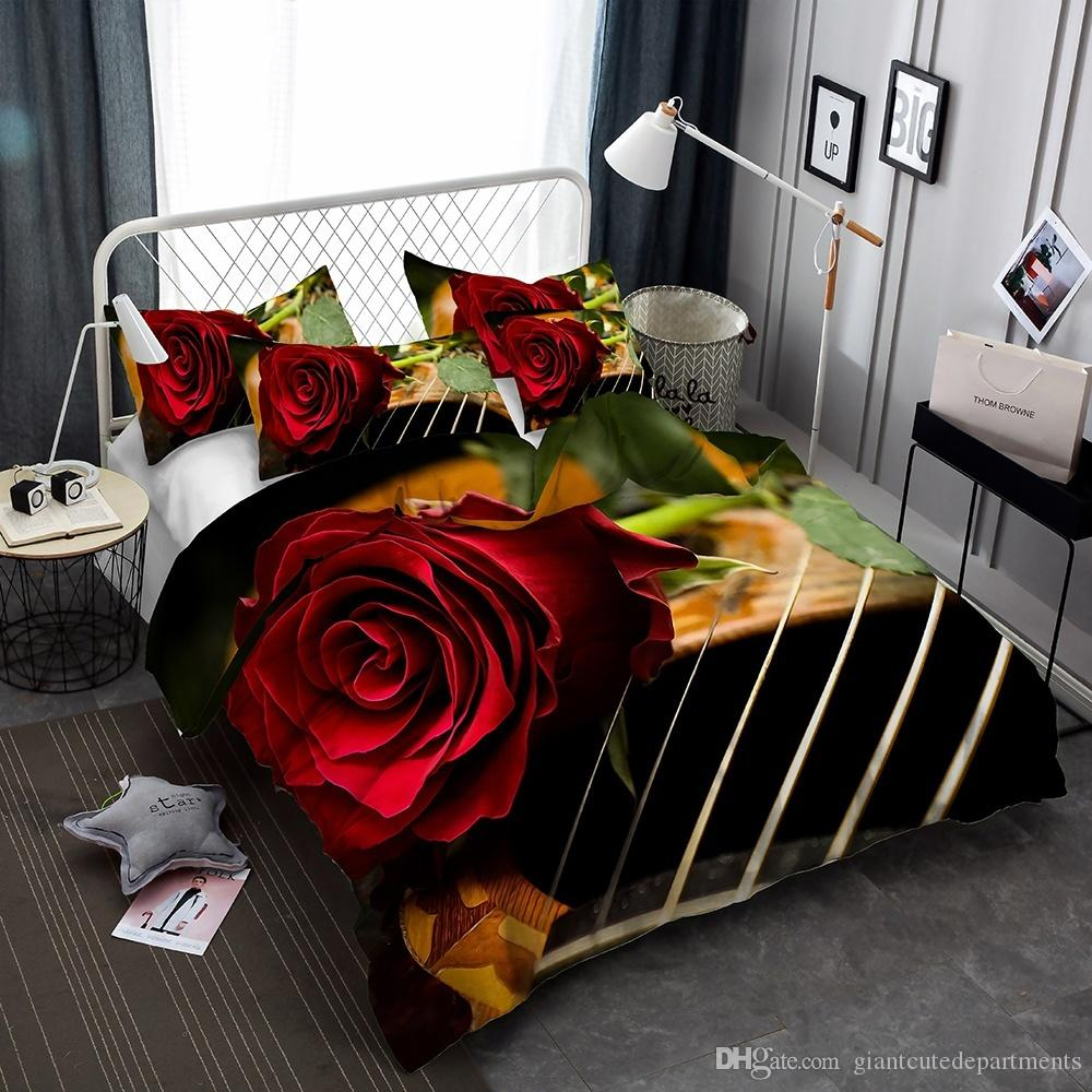 Flower Series Bed Rose Lie On The Guitar 3D Lifelike Bedding Set Print Duvet Cover Doona Cover Set Bed linen Home Textiles