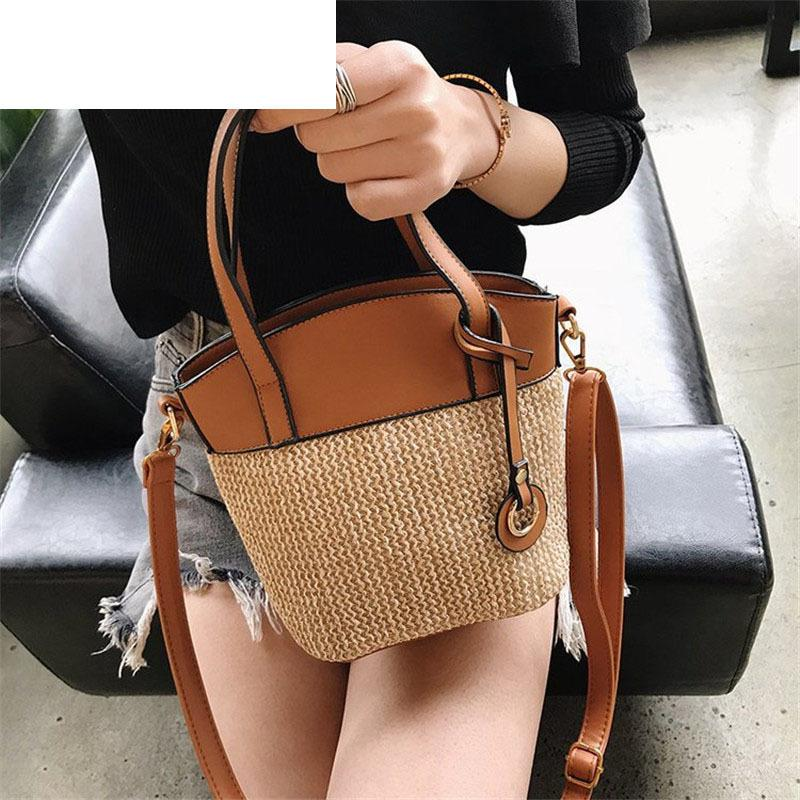 Good Quality Handmade Straw Weave Woman Shoulder Bag Solid Color Bucket  Messenger Bag Female Minimalist Style Messenger Bag Female Black Handbag  Purses ... fa2291303e8