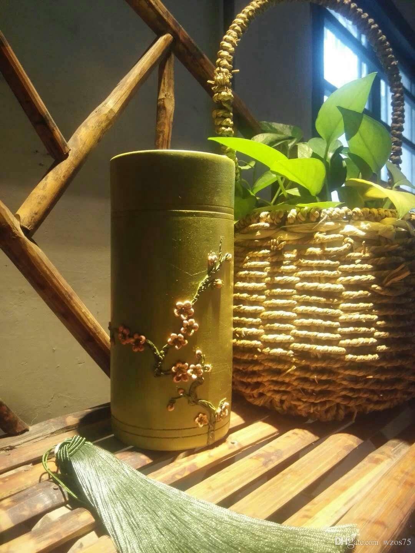2019 Handmade Soil Clay Sculpture Flower On Bamboo Special Art Craft